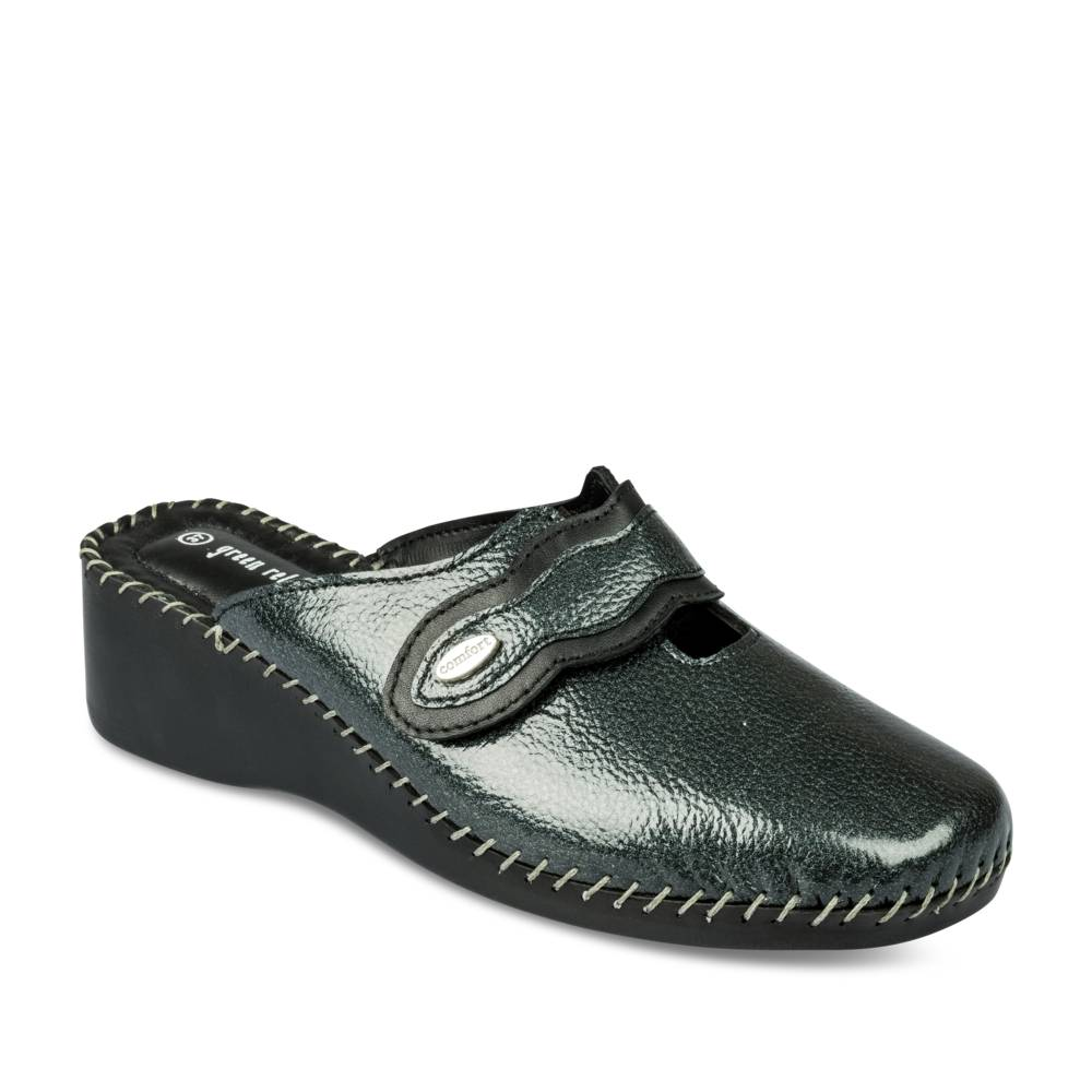 Mules GRIS GREEN RELAX CUIR