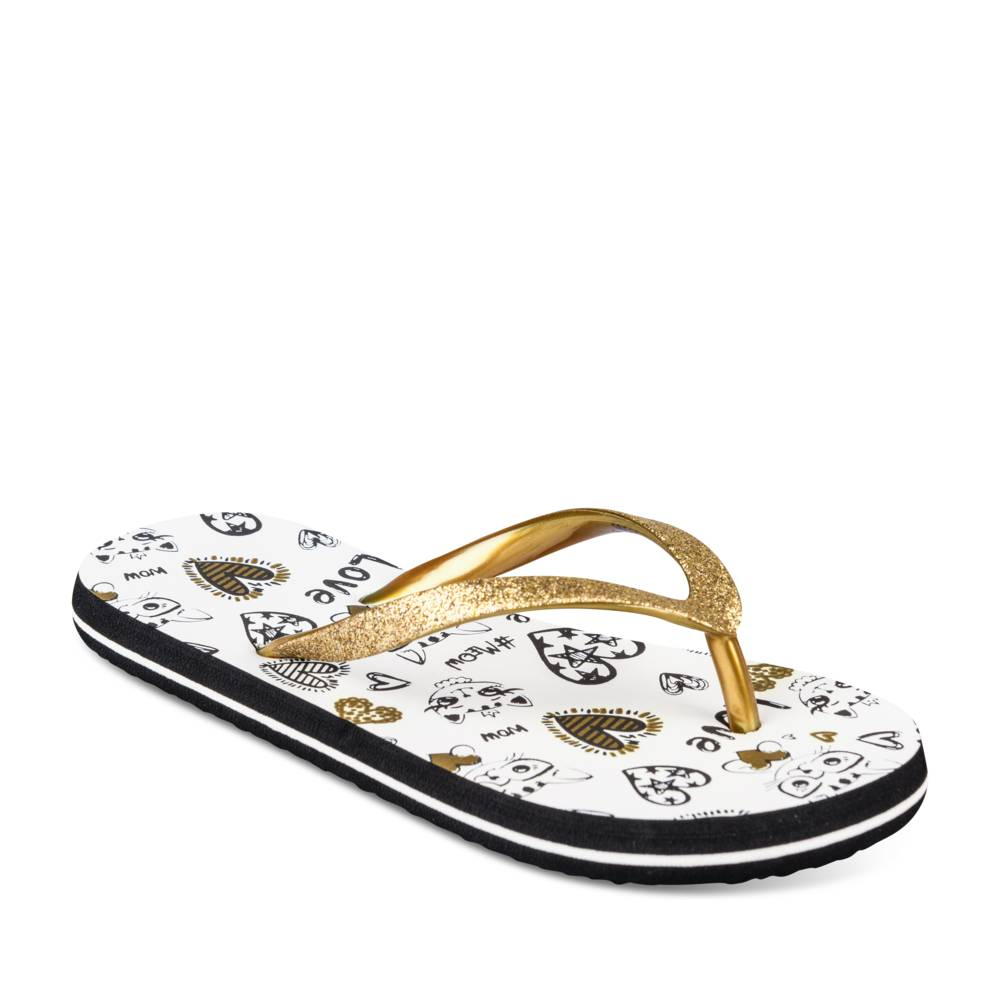 Teenslippers GOUD LOVELY SKULL