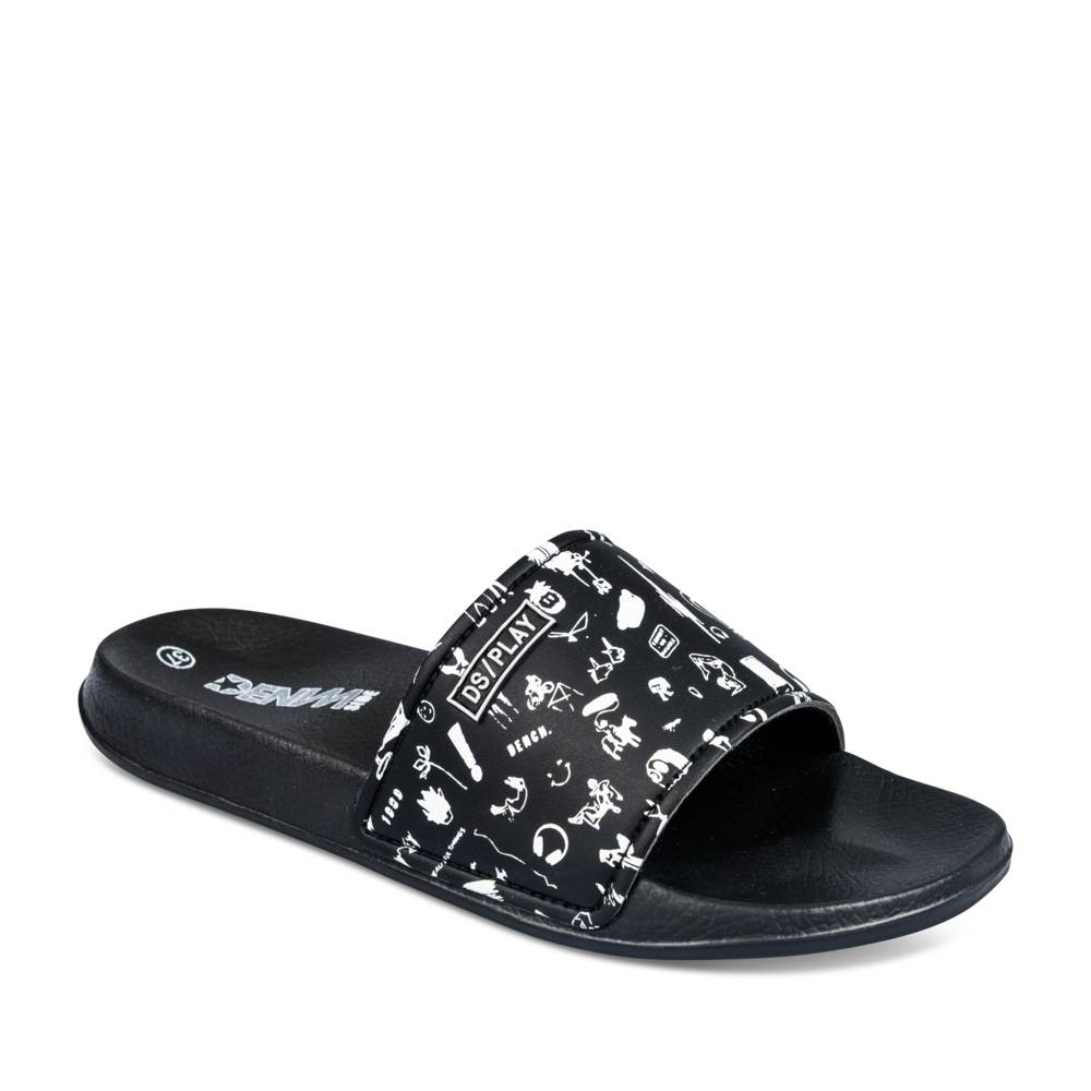 Teenslippers ZWART DENIM SIDE
