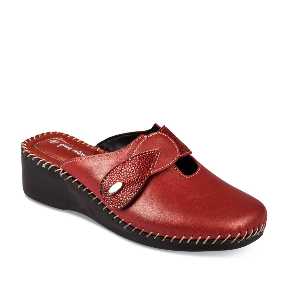 Mules ROUGE GREEN RELAX CUIR