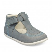 Chaussures à scratch GRIS FREEMOUSS BOY CUIR